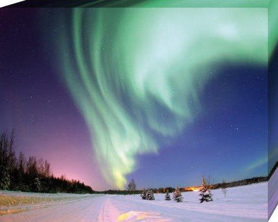 Polar Lights Stretched Canvas Print - Northern Lights Over Snow Covered Landscape (20 x 16 x 0.75 inches)