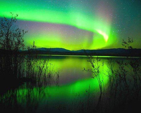 Polar Lights Stretched Canvas Print - Aurora Borealis Reflecting On A Lake (20 x 16 inches)