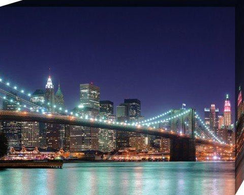 New York Stretched Canvas Print - Night Panorama Of Brooklyn Bridge (20 x 16 inches)