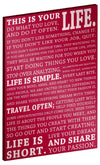 "This is Your Life Motivational Poster, 16"" x 20"" x 1.5"" Canvas Gallery Wrap (Burgundy)"