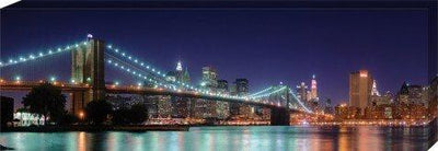 New York Stretched Canvas Print - Night Panorama Of Brooklyn Bridge (36 x 12 inches)