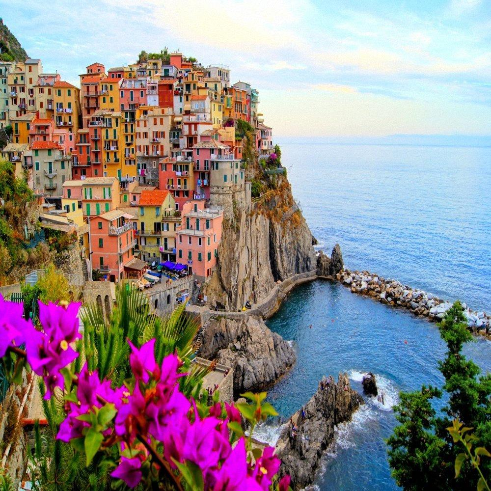 Village Of Manarola, Cinque Terre, Italy. With Flowers. 24″ x 24″ Gallery Wrapped Canvas Print