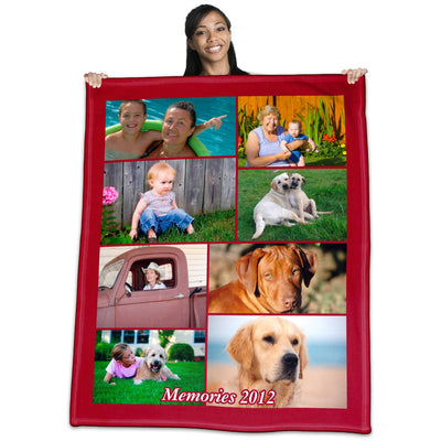 Personalized Polar Fleece Collage Photo Throw Blanket / Tapestry Wall Hanging