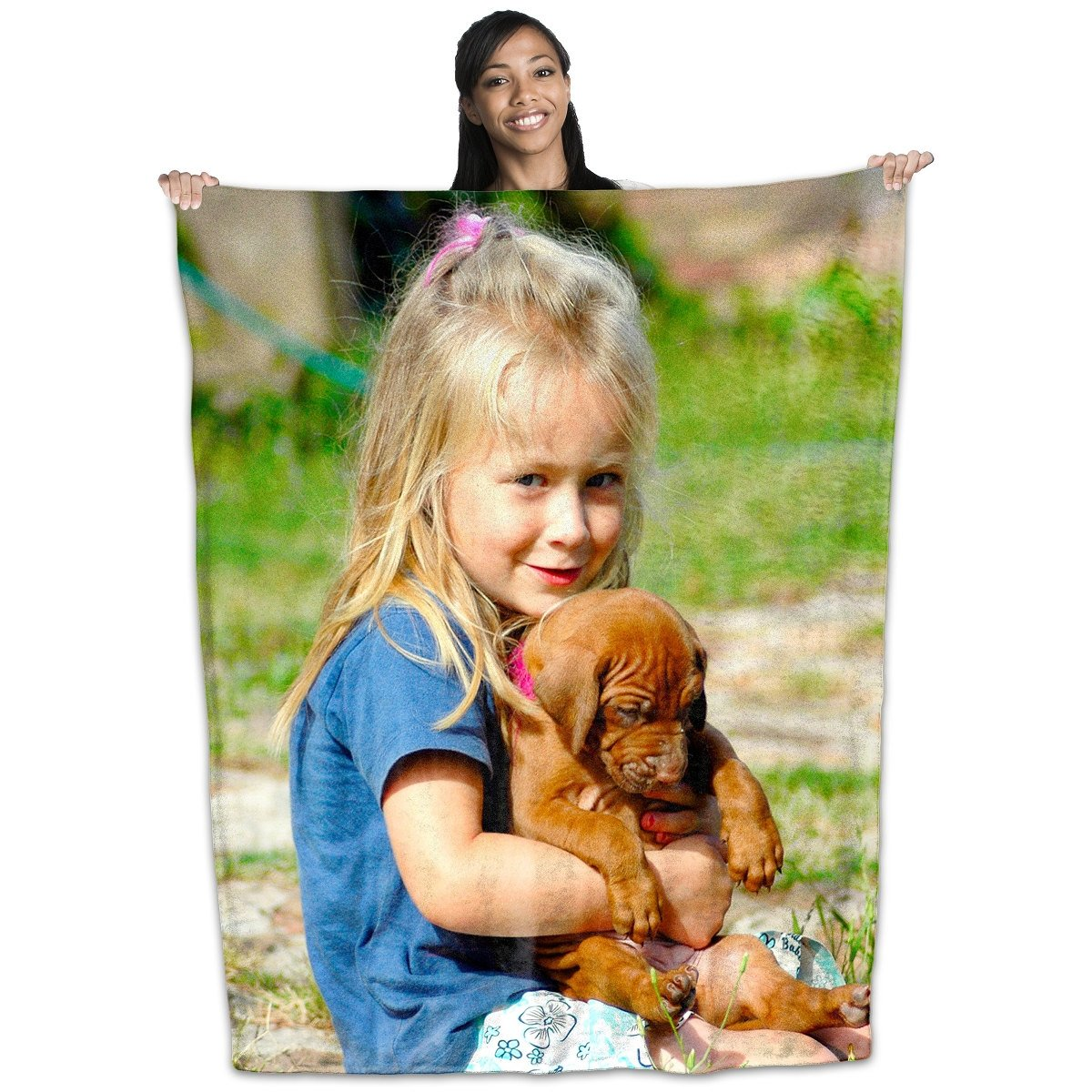 Personalized Coral Plush Fleece Photo/Image Blanket