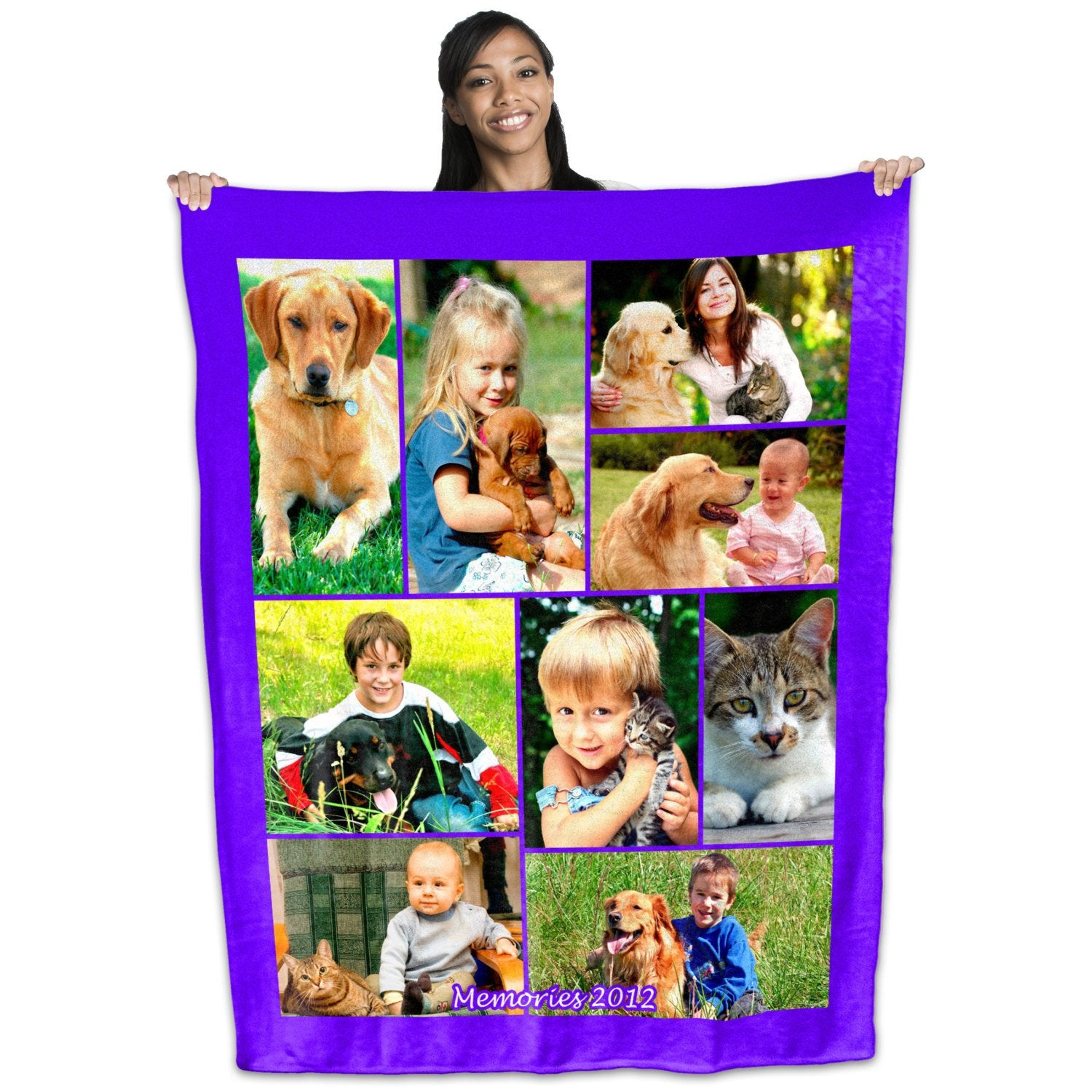 Personalized Coral Plush Fleece Photo Collage Blanket