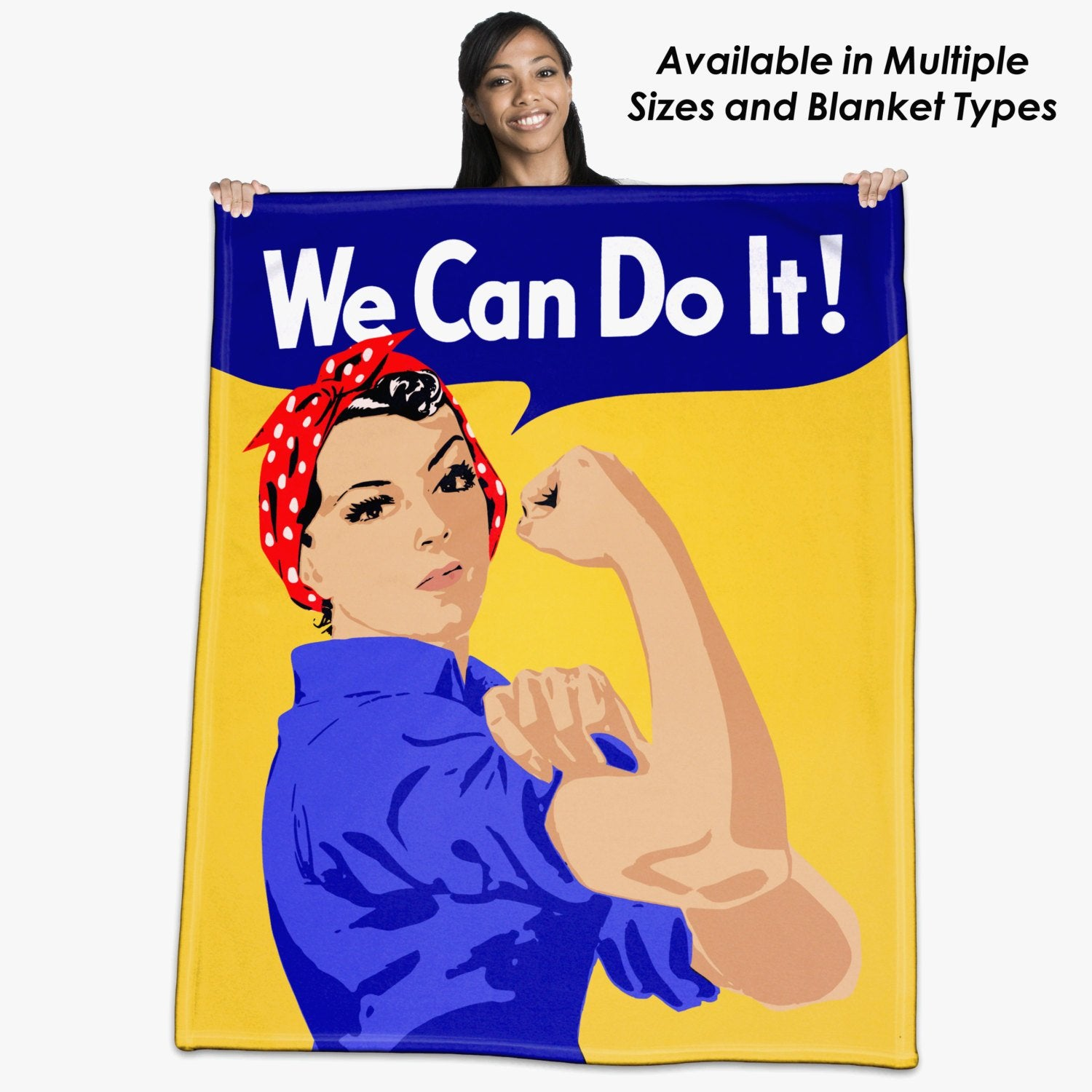 """Rosie the Riveter, """"We Can Do It"""" Throw Blanket / Tapestry Wall Hanging"""