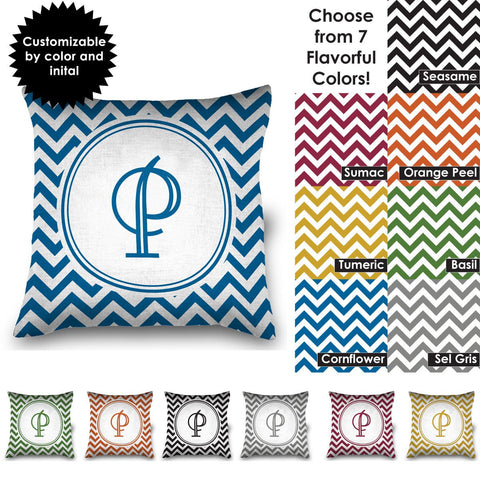 "Chevron Design 16"" Pillow with Personalized Monogram"