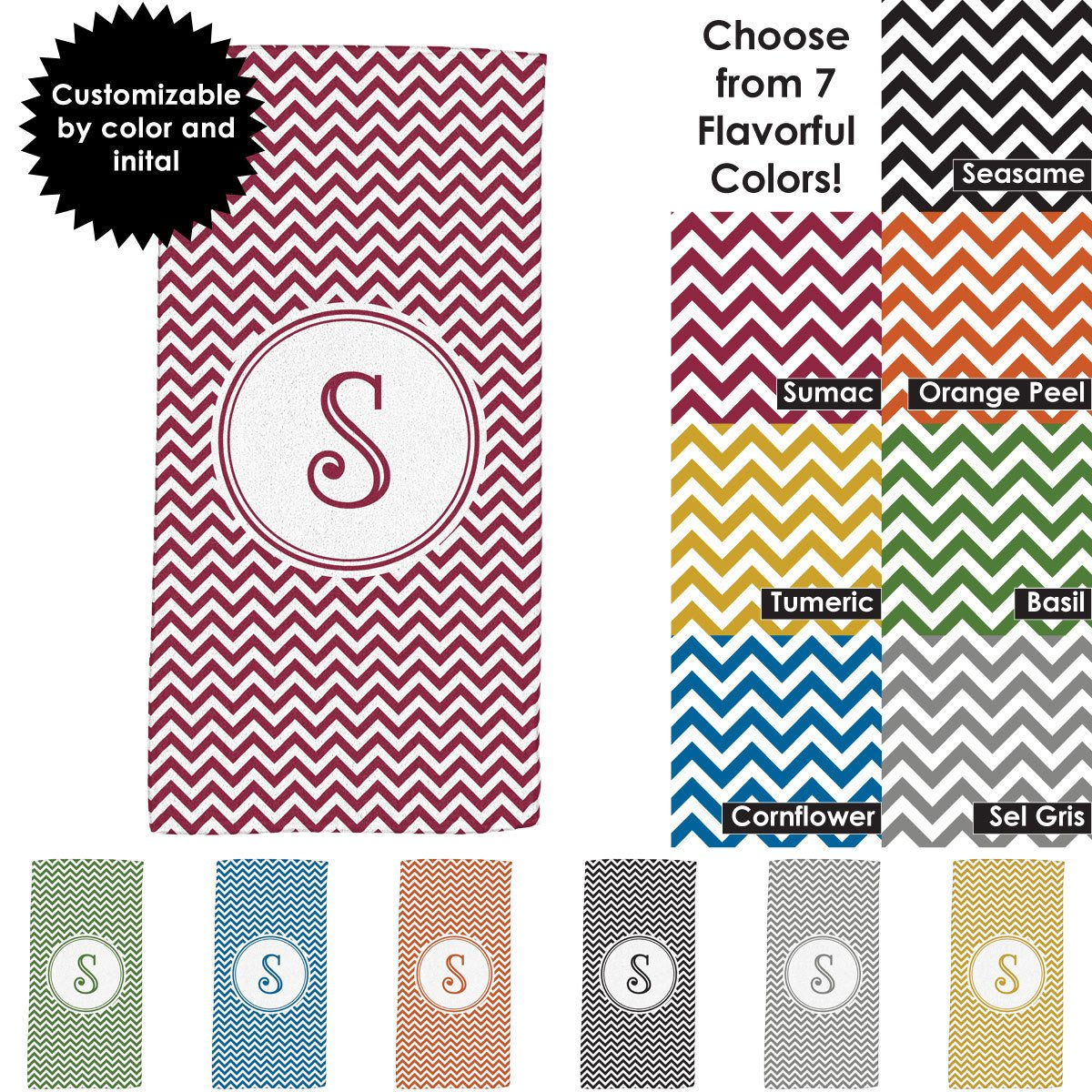 Chevron Design 30x60 Beach Towel with Customizable Monogram