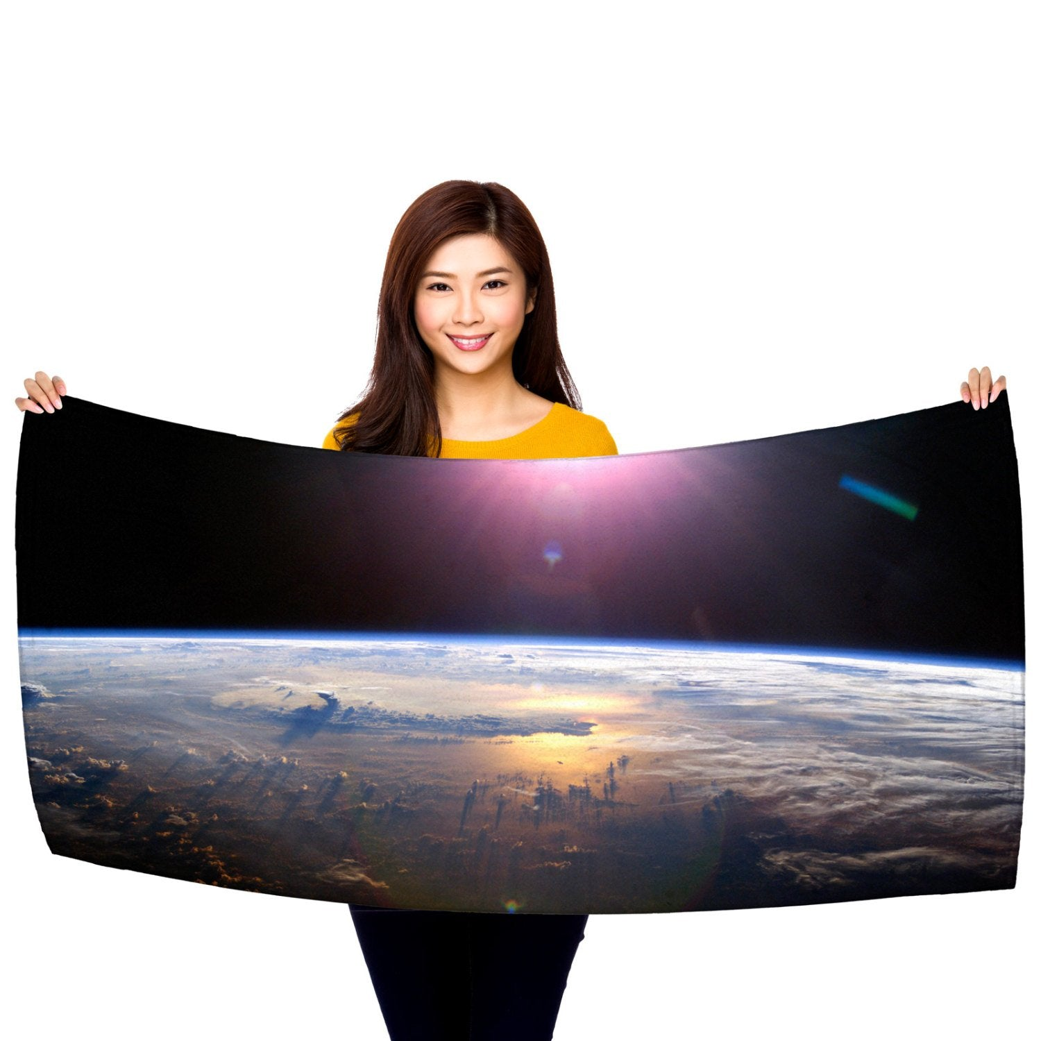 "HD Space Image, Earth from Orbit 30"" x 60"" Microfiber Beach Towel"