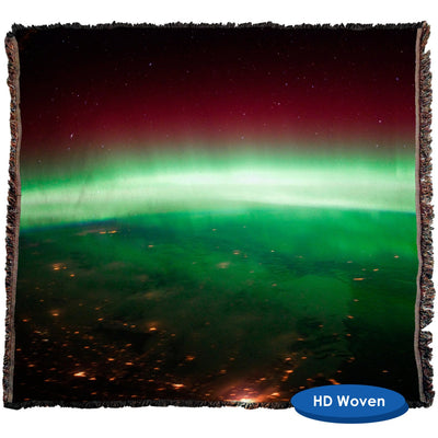 HD Space Photo, Aurora Borealis over Canada Throw Blanket / Tapestry Wall Hanging