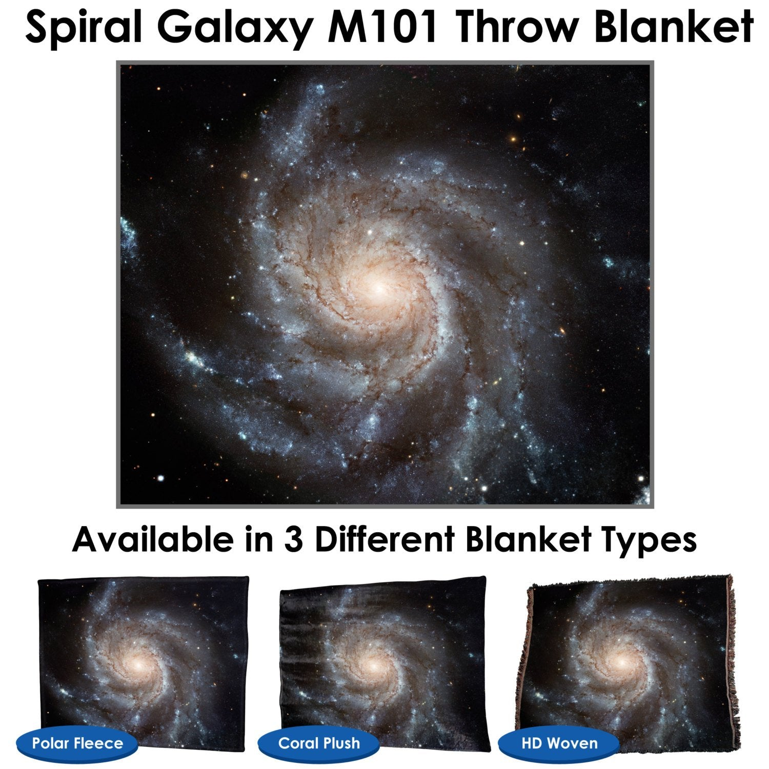 Spiral galaxy M101 – Throw Blanket / Tapestry Wall Hanging