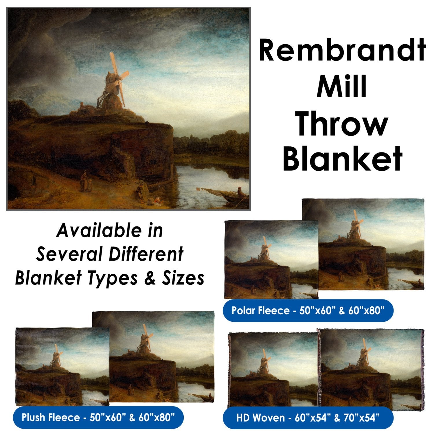 Rembrandt's The Mill – Throw Blanket / Tapestry Wall Hanging