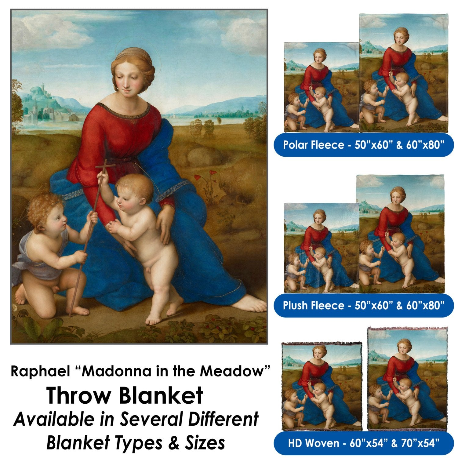 """Raphael's """"Madonna in the Meadow"""" – Throw Blanket / Tapestry Wall Hanging"""