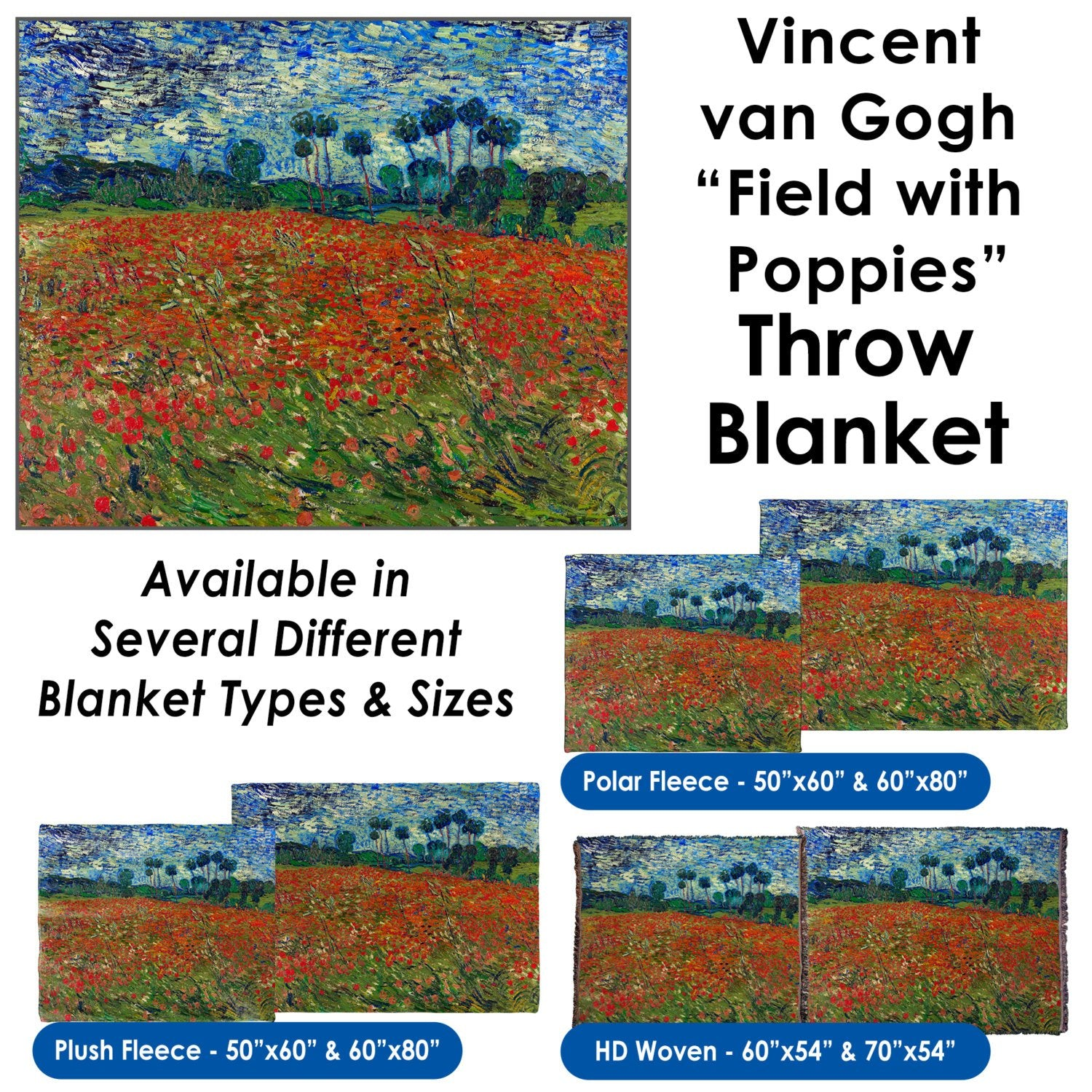 "Vincent van Gogh's ""Field with Poppies"" – Throw Blanket / Tapestry Wall Hanging"