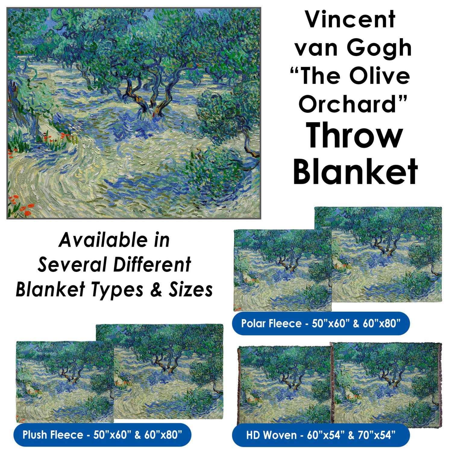 "Vincent van Gogh's ""The Olive Orchard"" – Throw Blanket / Tapestry Wall Hanging"