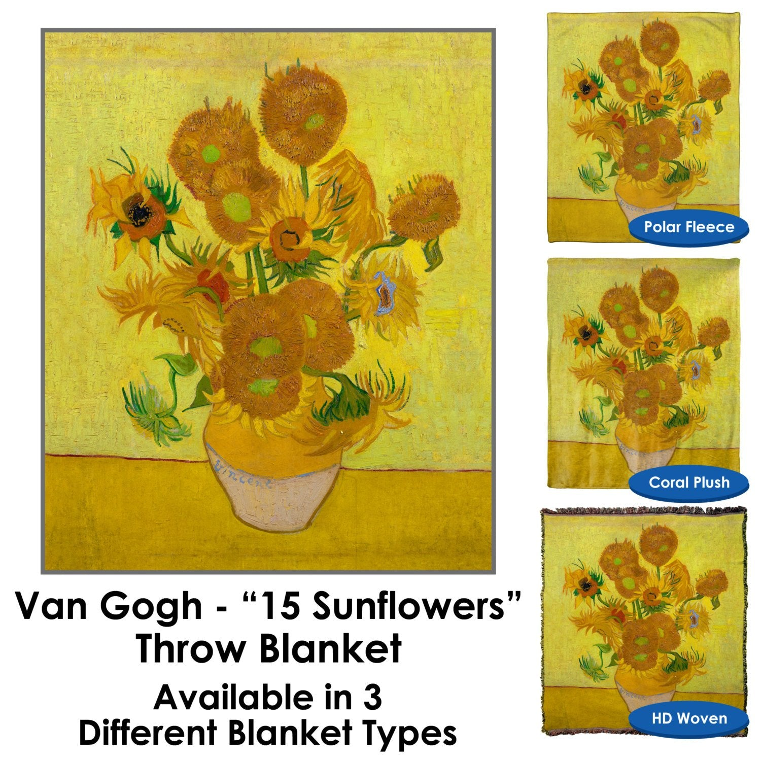 Van Gogh – 15 Sunflowers Throw Blanket / Tapestry Wall Hanging