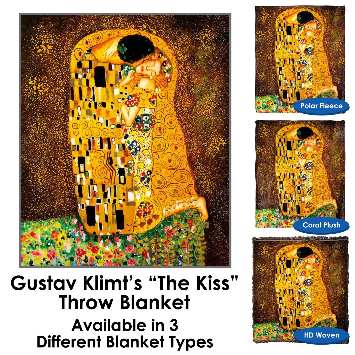 The Kiss Gustav Klimt Throw Blanket / Tapestry Wall Hanging – Standard Multi-color