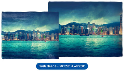 Hong Kong Skyline - Throw Blanket / Tapestry Wall Hanging