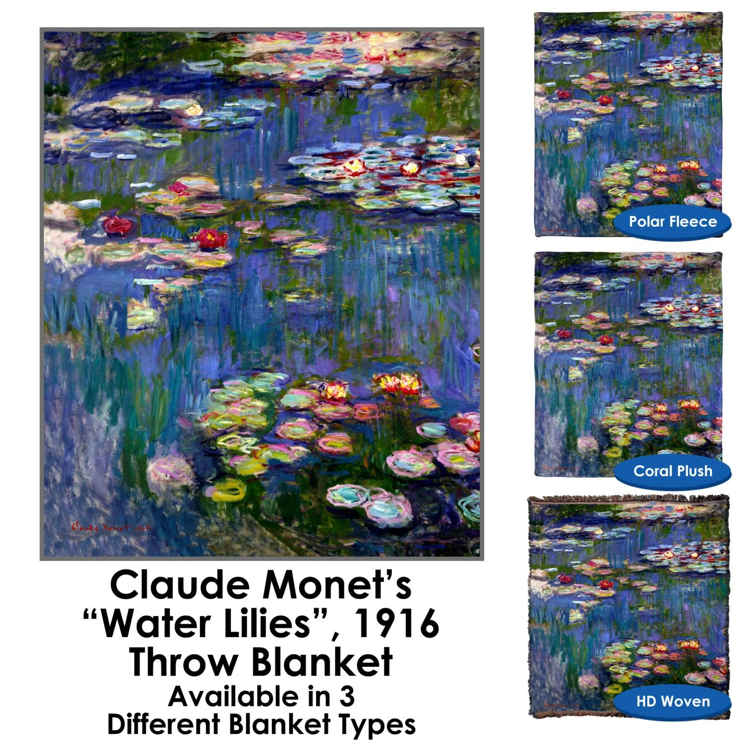 Water Lilies 1916 by Claude Monet Throw Blanket / Tapestry Wall Hanging – Standard Multi-color