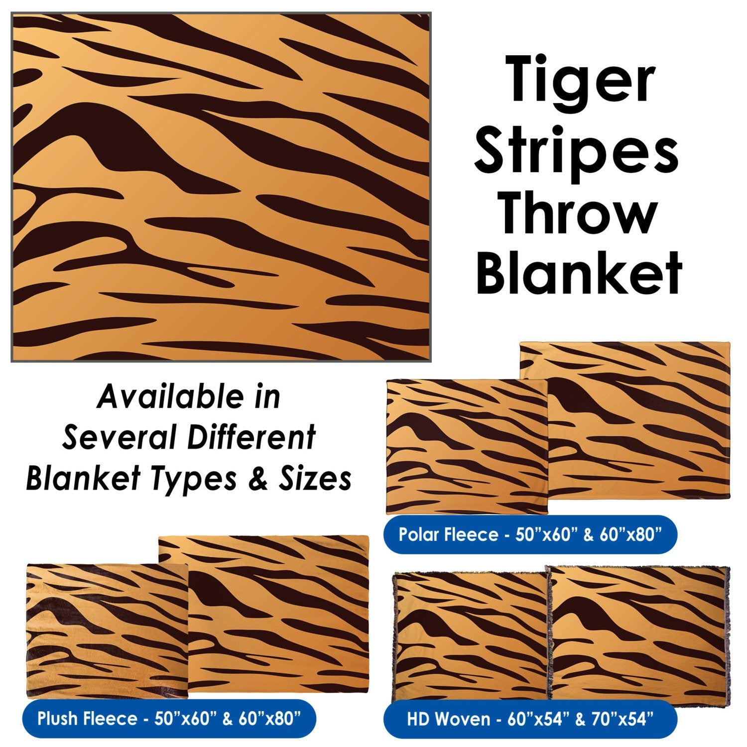 Tiger Stripes – Throw Blanket / Tapestry Wall Hanging