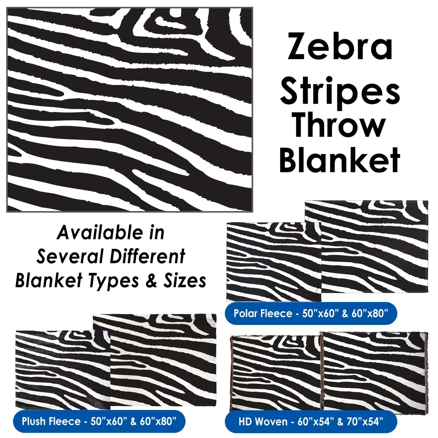 Zebra Stripes - Throw Blanket / Tapestry Wall Hanging