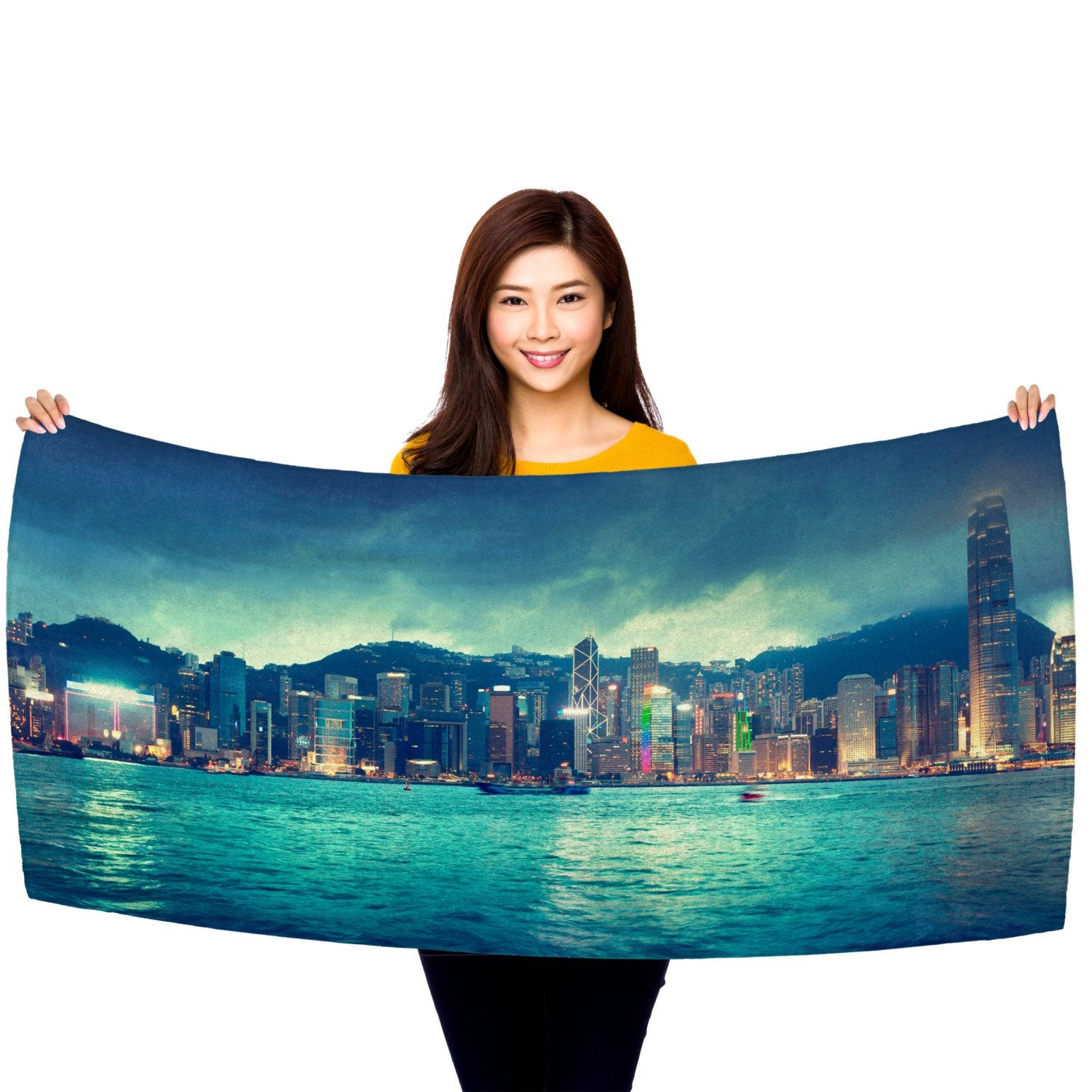 "Hong Kong Skyline 30"" x 60"" Microfiber Beach Towel"