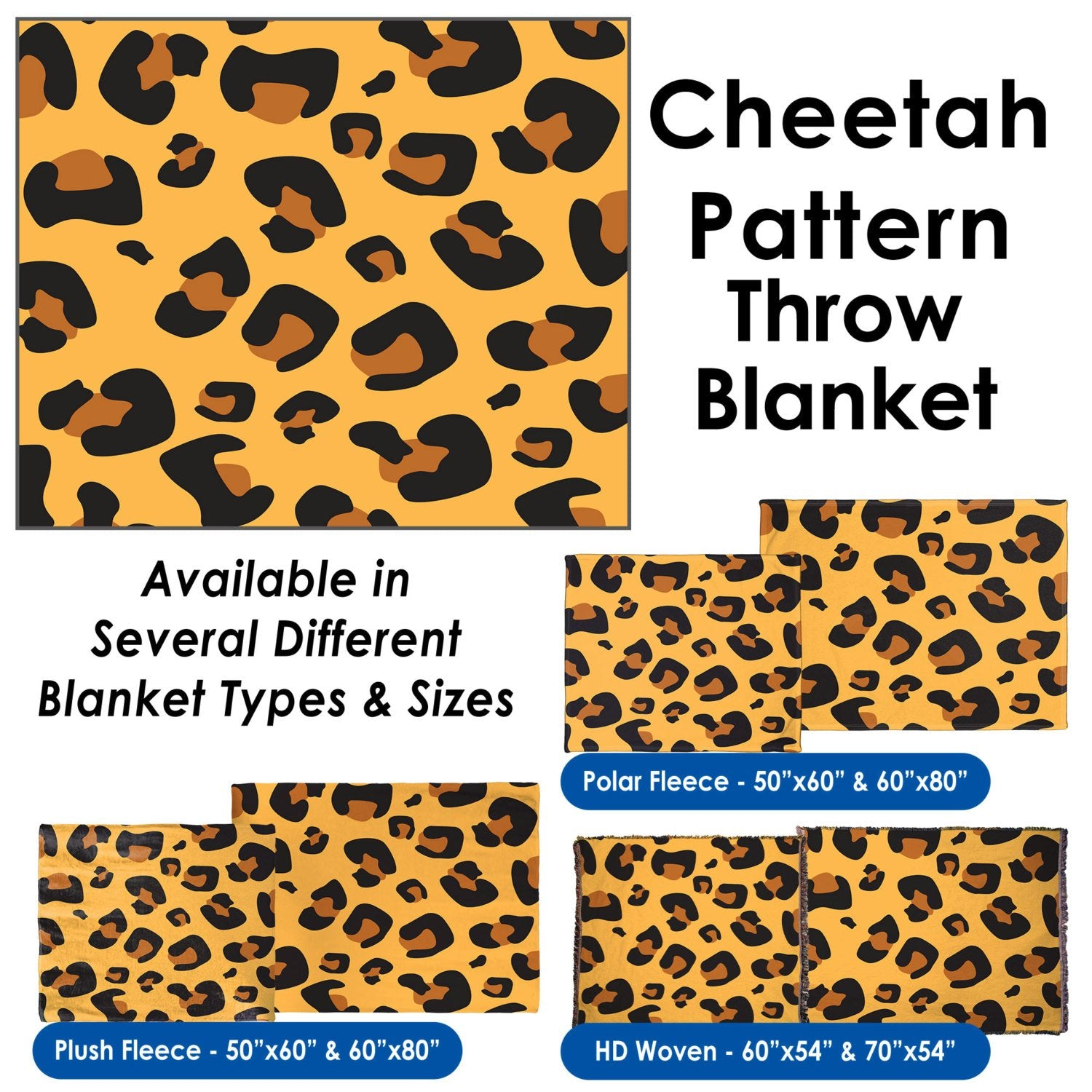 Cheetah Pattern - Throw Blanket / Tapestry Wall Hanging