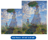 "Claude Monet's ""Woman with a Parasol - Madame Monet and Her Son"" Throw Blanket / Tapestry Wall Hanging"