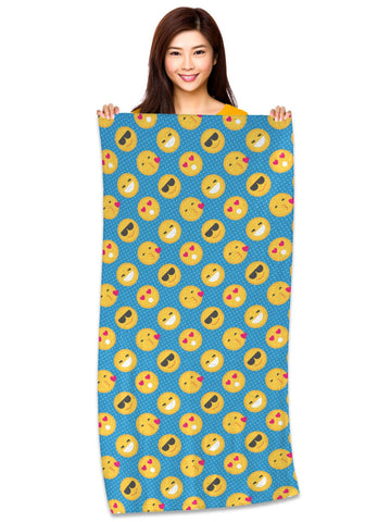 "Emoji Pattern (Flat Colors) 30"" x 60"" Microfiber Beach Towel"
