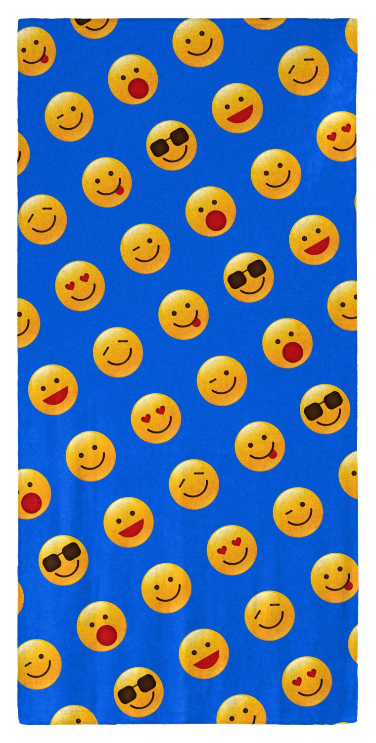 "Emoji Pattern (Shiny Icons) 30"" x 60"" Microfiber Beach Towel"