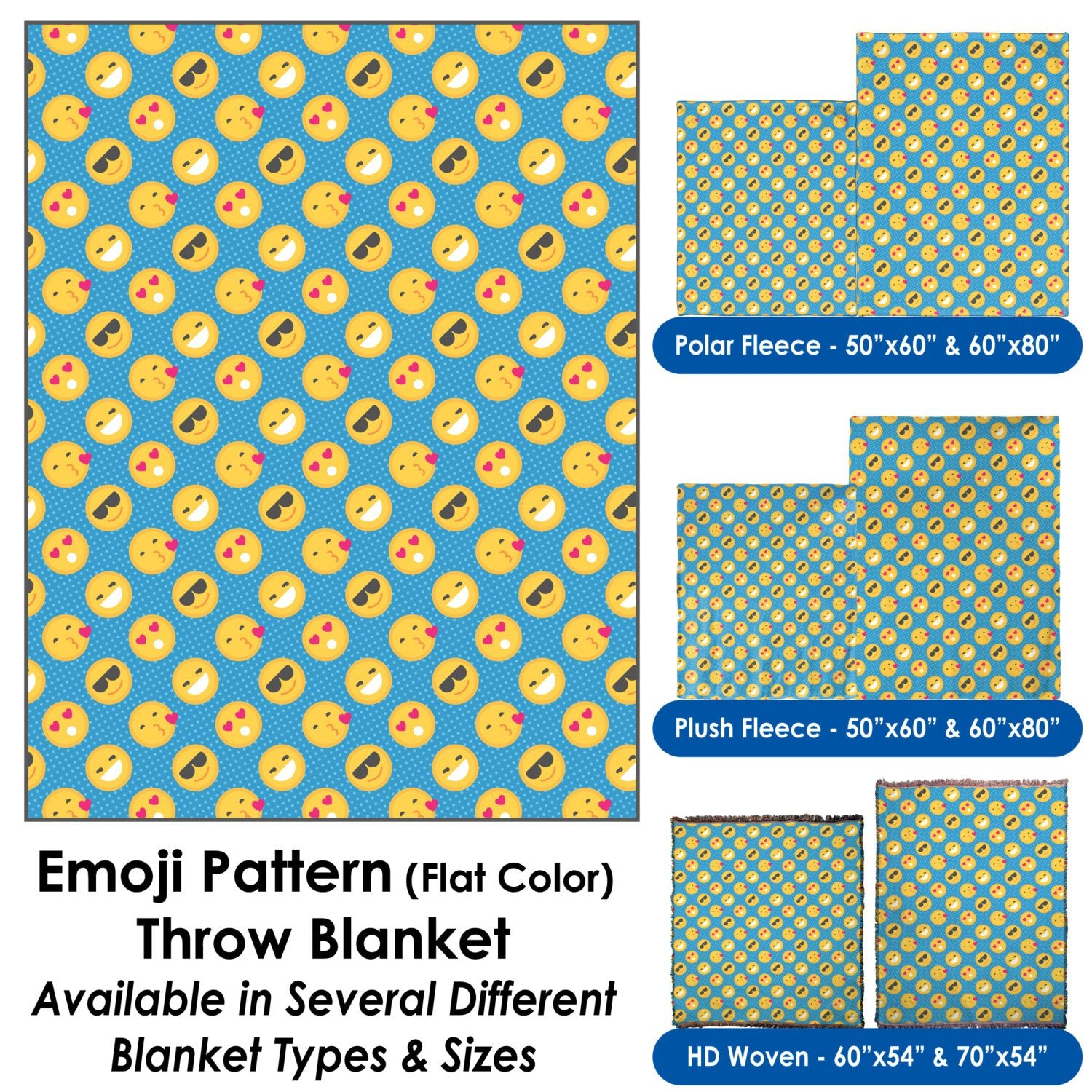 Emoji Pattern (Flat Color) Throw Blanket / Tapestry Wall Hanging