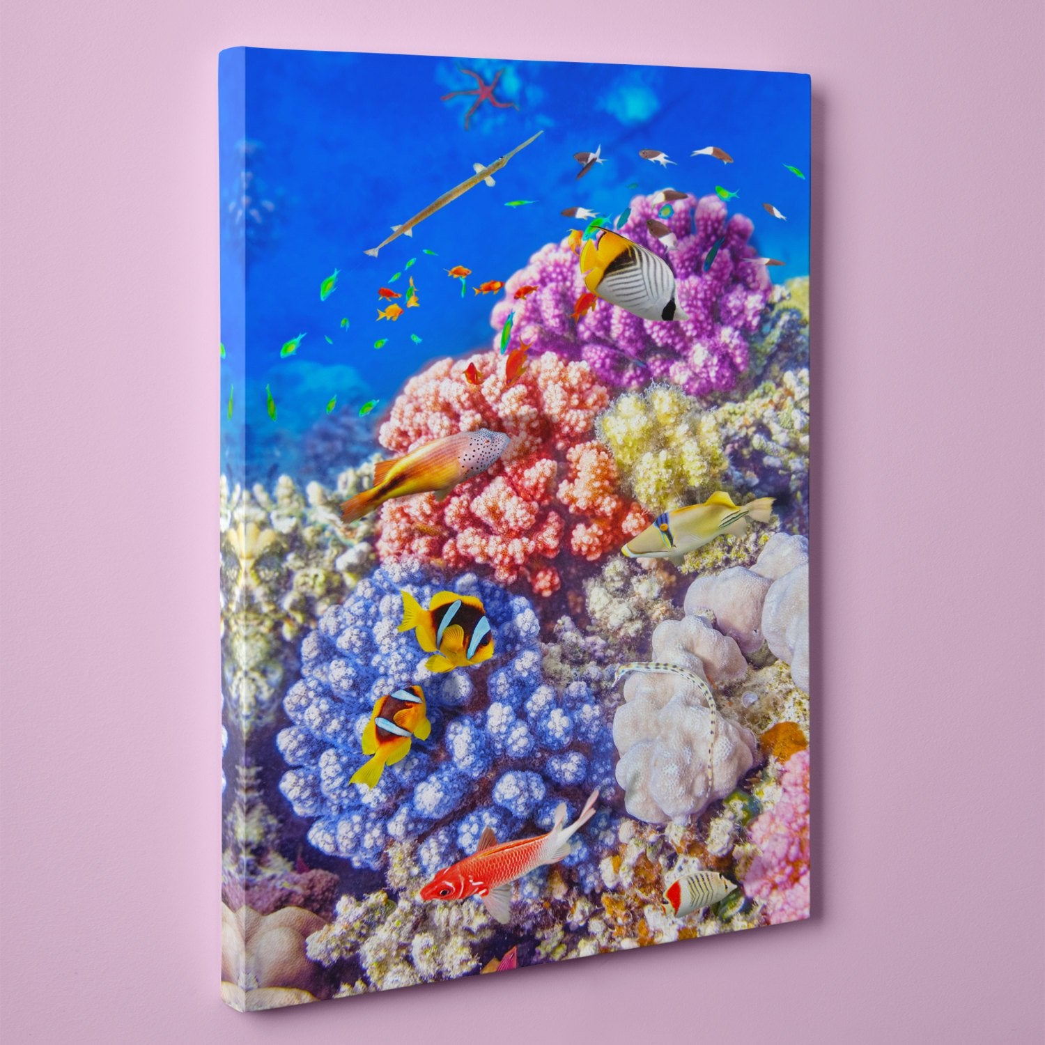 "Caribbean Coral and Tropical Fish, Underwater Photo (16"" x 24"") - Canvas Wrap Print"