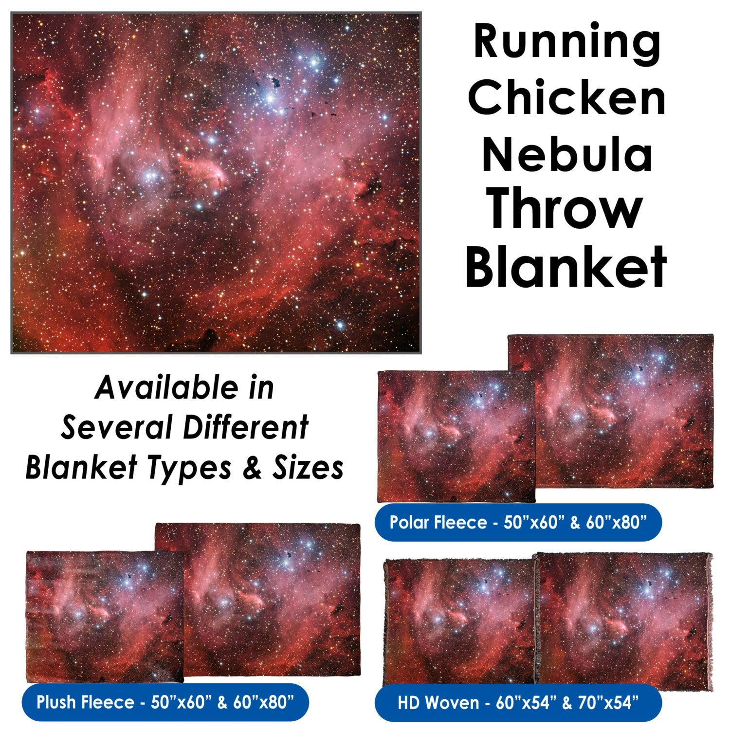 Running Chicken Nebula - Throw Blanket / Tapestry Wall Hanging