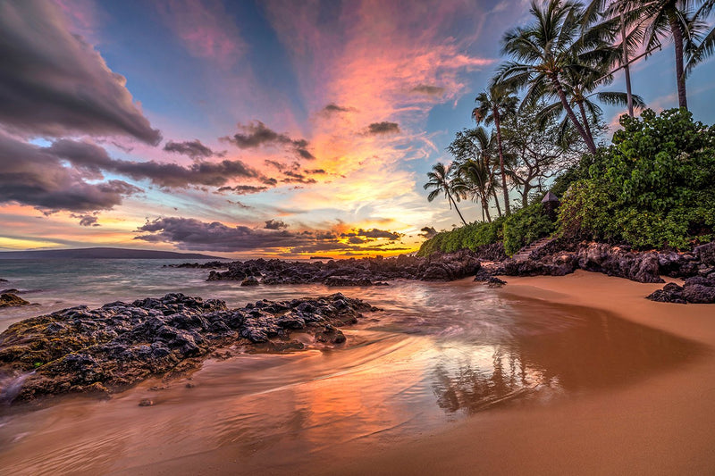 "Hawaiian Sunset at Secret Cove, Maui (24"" x 36"") - Canvas Wrap Print"