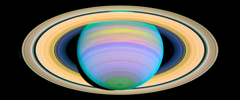 "Saturn's Rings in Ultraviolet Light (10"" x 24"") - Canvas Wrap Print"