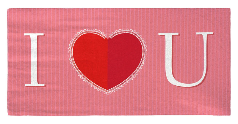 "Valentine's Day - I Heart You 30"" x 60"" Microfiber Beach Towel"