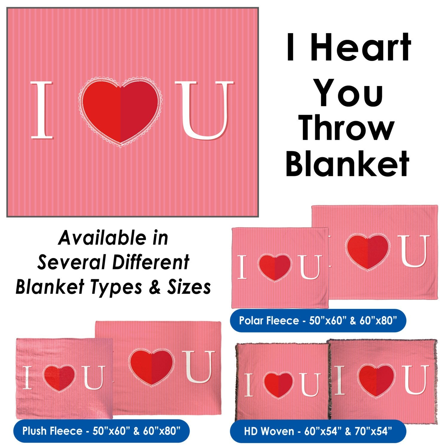 Valentine's Day - I Heart You Throw Blanket / Tapestry Wall Hanging