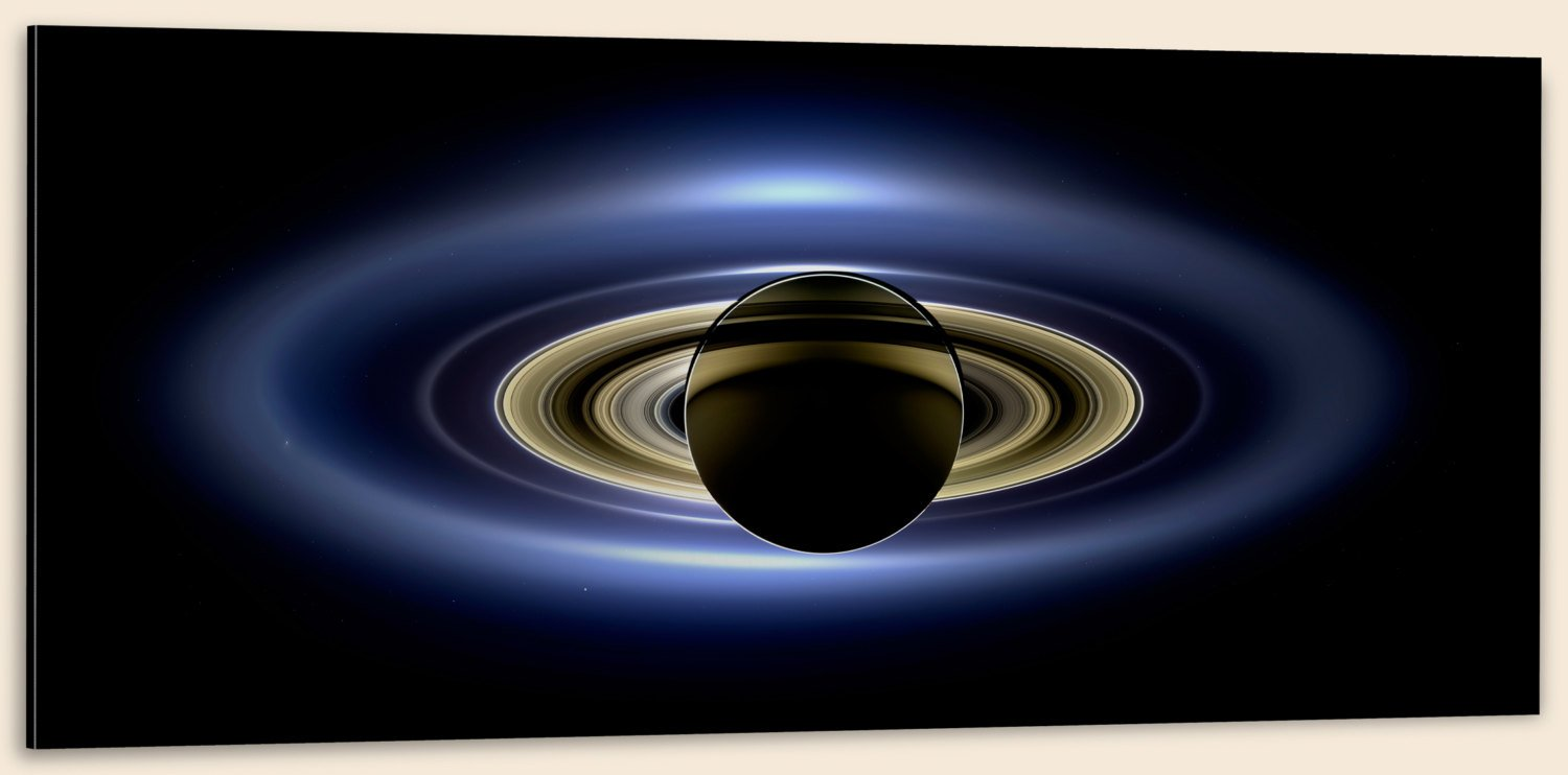 "Cassini, Saturn in Silhouette (32"" x 48"") - Canvas Wrap Print"