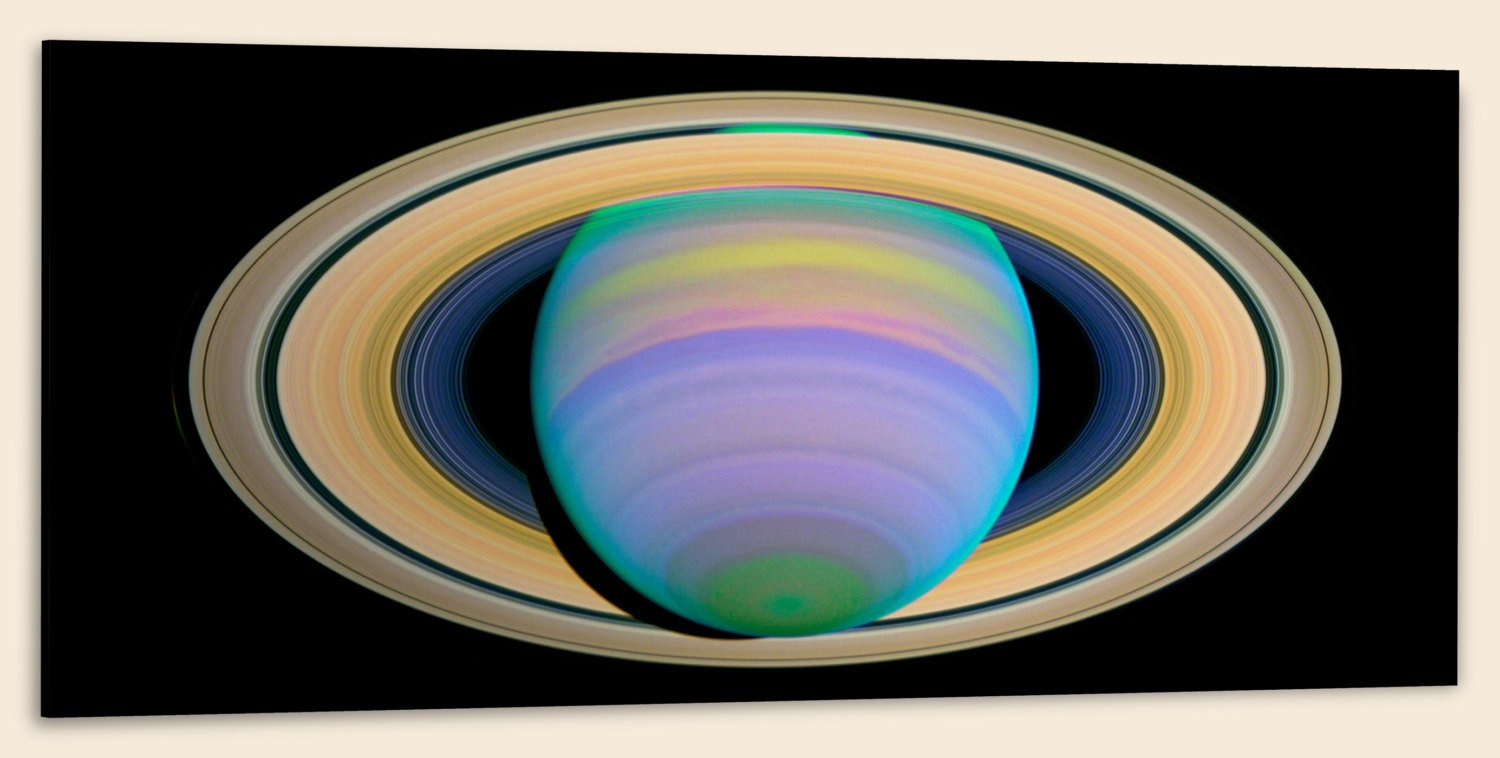 Saturn's Rings in Ultraviolet Light (20″ x 48″) – Canvas Wrap Print