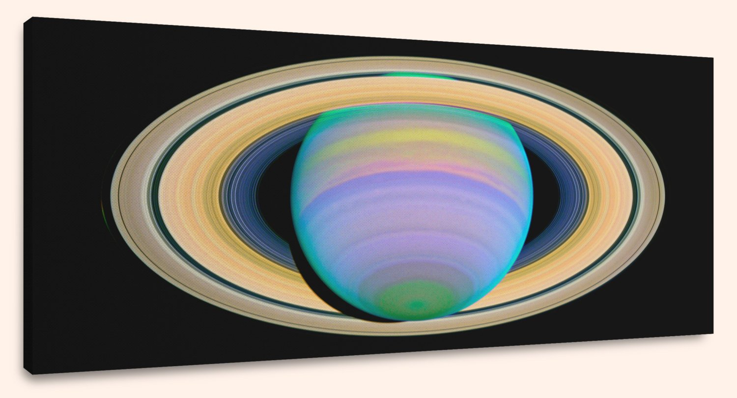 Saturn's Rings in Ultraviolet Light (10″ x 24″) – Canvas Wrap Print