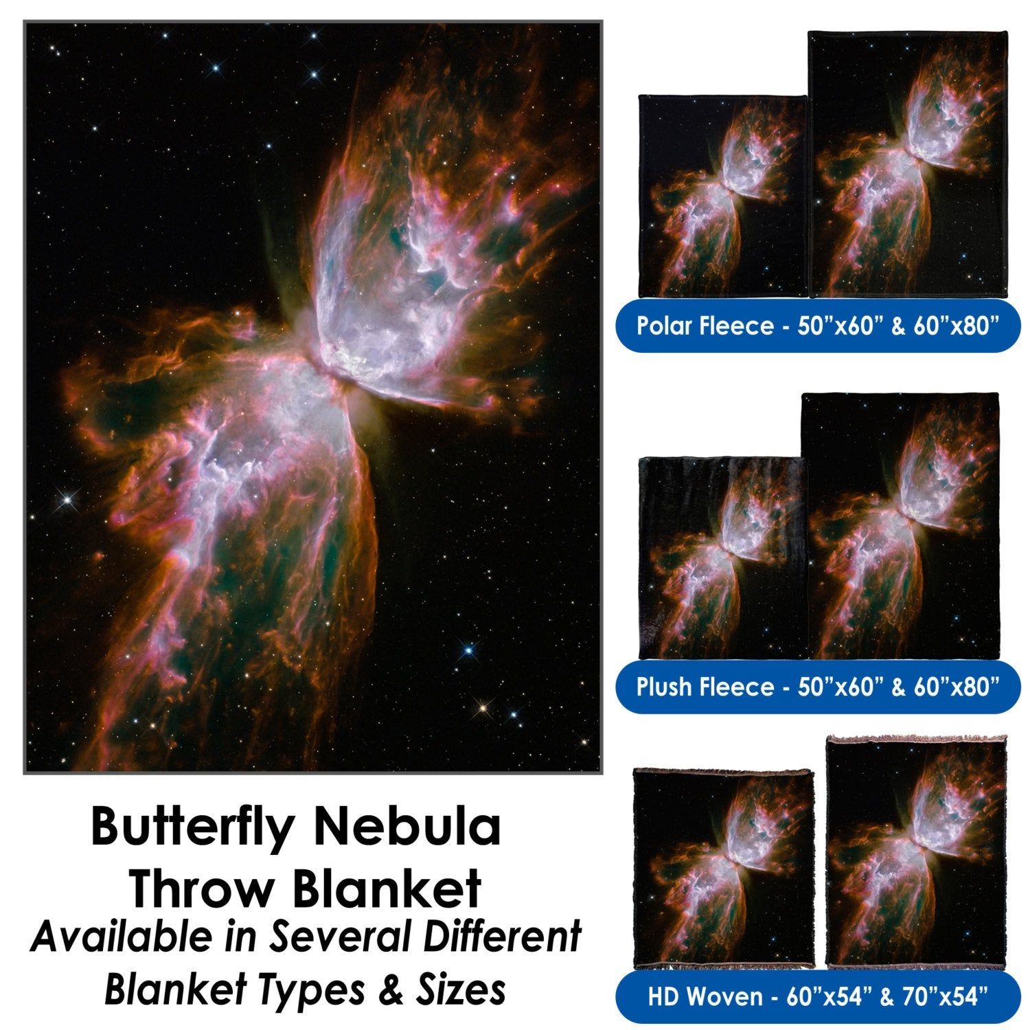 Butterfly Nebula - Throw Blanket / Tapestry Wall Hanging