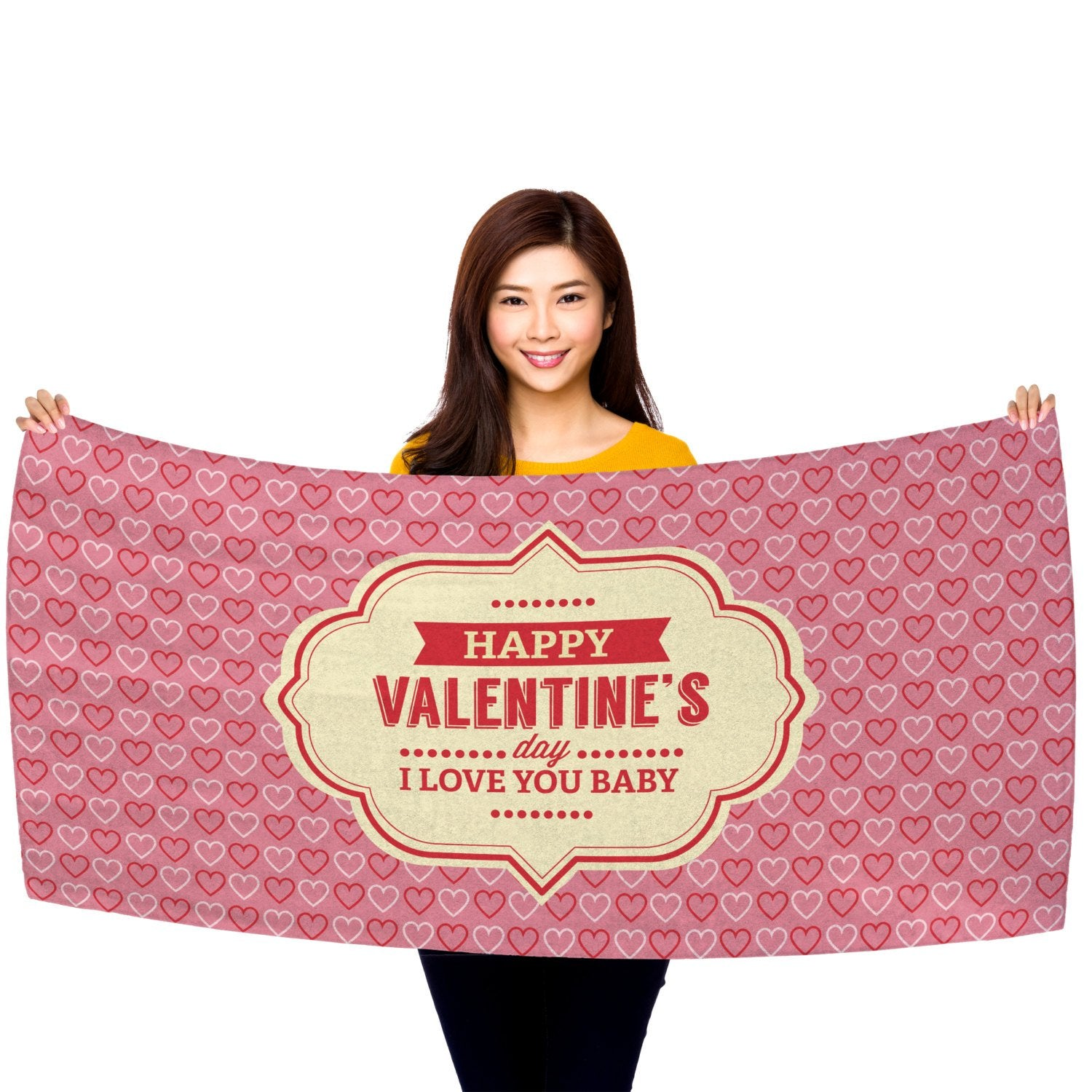 "Valentine's Day - I Love You Baby 30"" x 60"" Microfiber Beach Towel"
