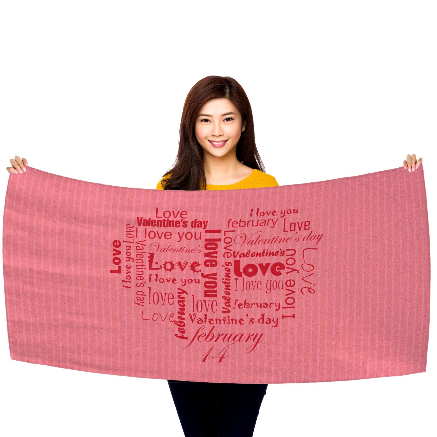 "Valentine's Day - Word Cloud Heart 30"" x 60"" Microfiber Beach Towel"