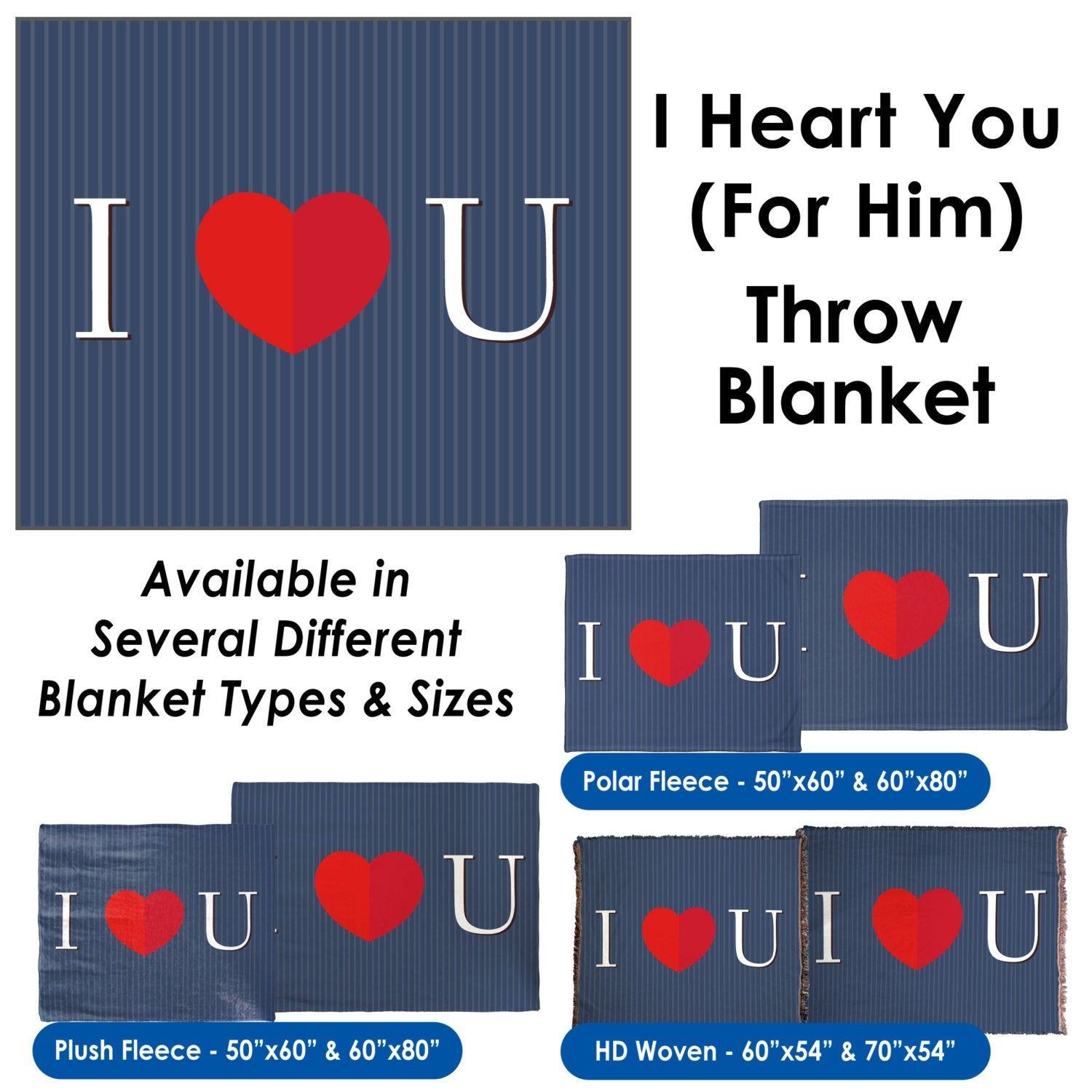 Valentine's Day – I Heart You (For Him) Throw Blanket / Tapestry Wall Hanging
