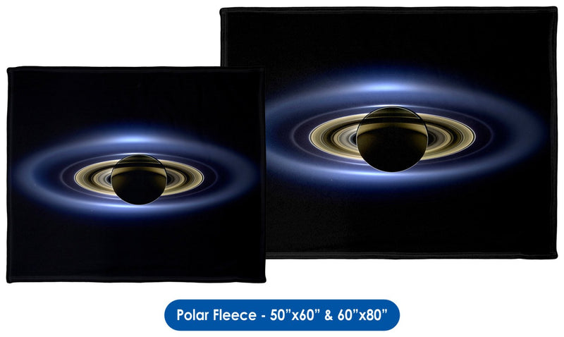 Cassini, Saturn in Silhouette - Throw Blanket / Tapestry Wall Hanging