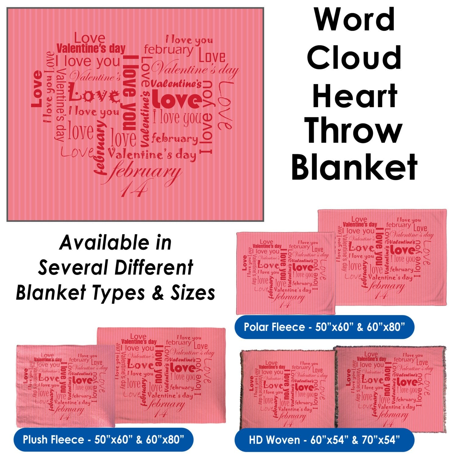 Valentine's Day – Word Cloud Heart Throw Blanket / Tapestry Wall Hanging