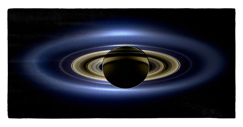 "Cassini, Saturn in Silhouette 30"" x 60"" Microfiber Beach Towel"