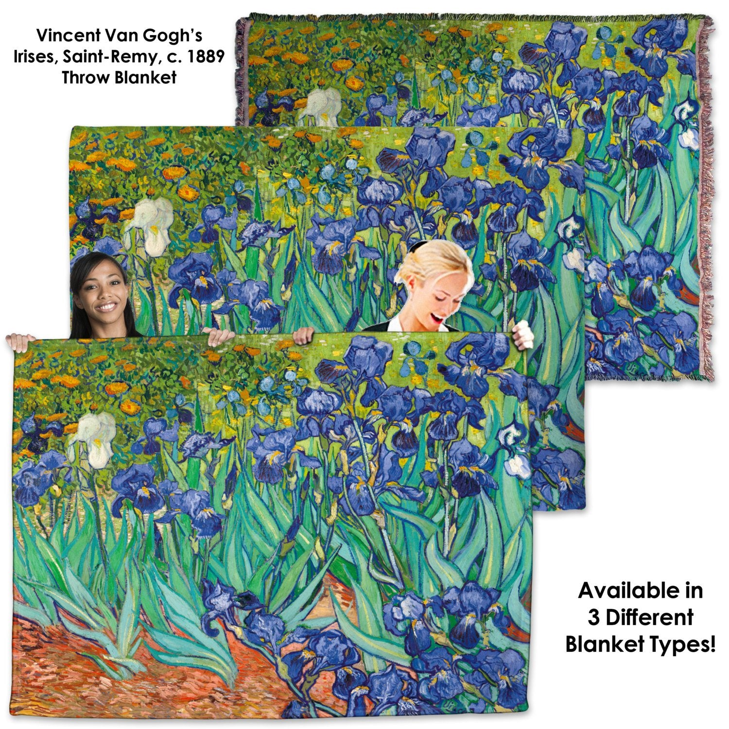 Vincent Van Gogh, Irises, Saint Remy - Throw Blanket / Tapestry Wall Hanging