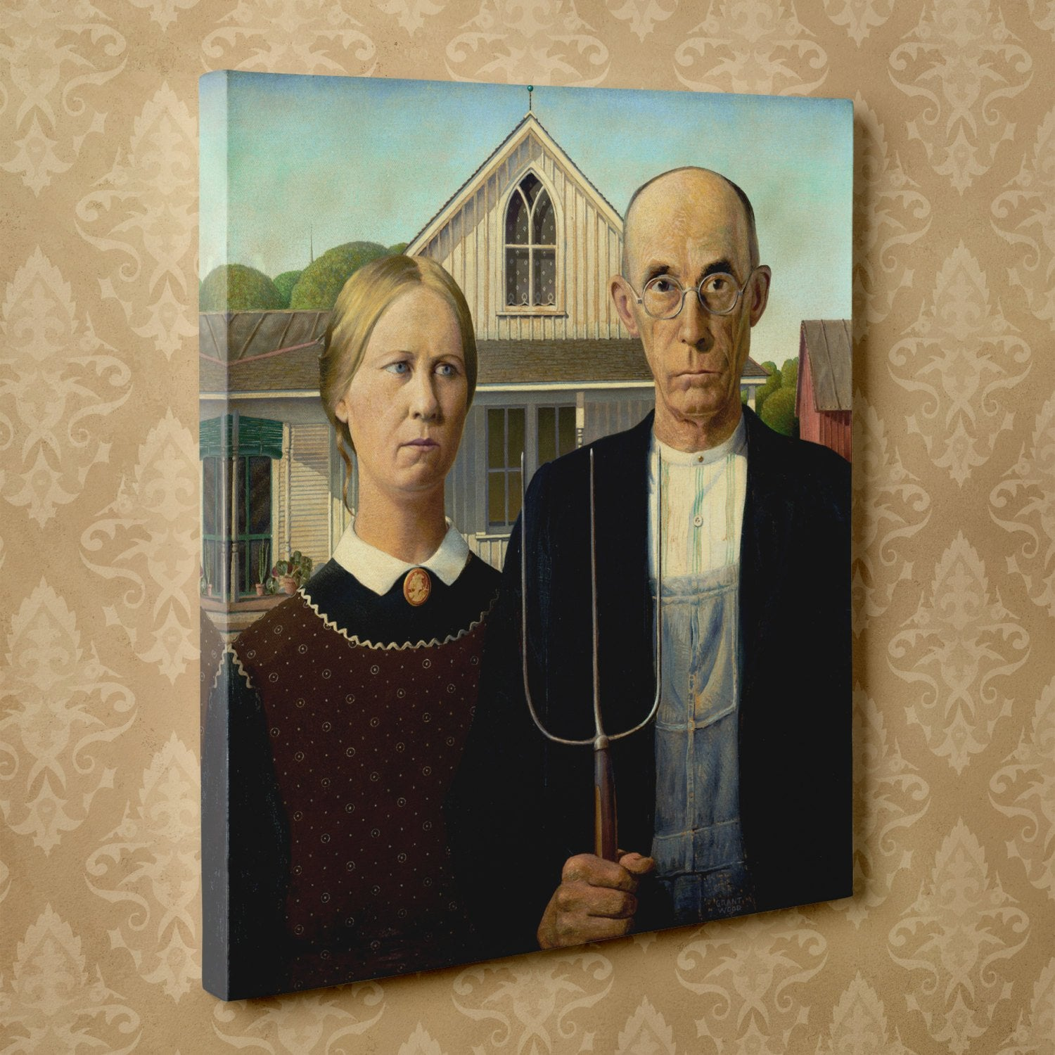 "American Gothic by Grant Wood (24"" x 36"") - Canvas Wrap Print"
