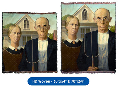 American Gothic by Grant Wood - Throw Blanket / Tapestry Wall Hanging
